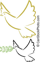holy spirit, dove of peace - a dove with an olive branch in...