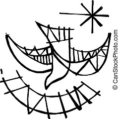 Hand drawn vector illustration or drawing of a Christian symbol of the Holy Spirit
