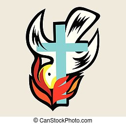 Holy spirit Fire with Cross