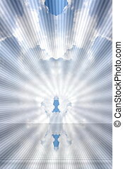 Holy spirit rays bursting  clouds