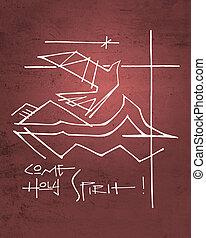 Holy Spirit religious symbols and phrase - Hand drawn...