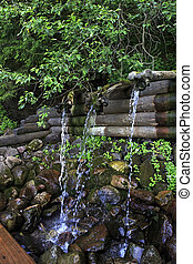 Holy Spring St. Sergius of Radonezh. Waterfall Gremyachiy key.