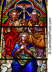 Holy Trinity and Mary - Stained glass church window (made at...