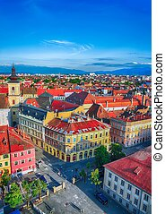 Holy Trinity Church and Council Tower in Sibiu city, view from the bell tower of St Mary Cathedral