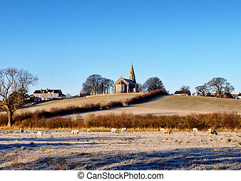 Holy Trinity Church Bardsea in a frosty morning
