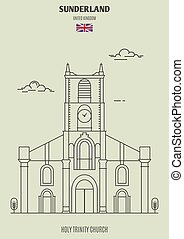 Holy Trinity Church in Sunderland, UK. Landmark icon in...