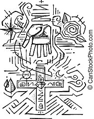 Holy Trinity - Hand drawn vector illustration or drawing of...