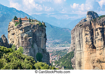 Holy Trinity Monastery. Meteora, Greece - Rock formations of...