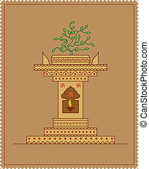Holy Tulsi Choura Vector Art