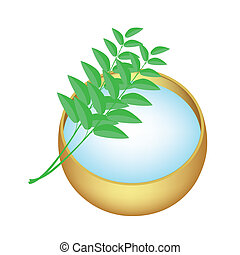 Holy Water in Golden Bowl with Green Leaves