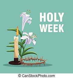 Holy week catholic tradition icon vector illustration ...