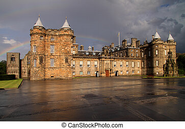 Holyrood Palace and Rainbow, Edinburgh - Holyrood Palace in...
