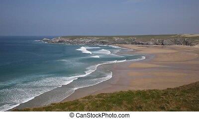 Holywell Bay coast Cornwall England