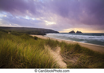 Holywell bay spectacular sunset - A dramatic sunset at ...