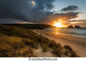 Holywell Bay Sunset - sunset over Holywell Bay Beach...