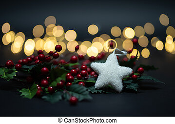 Holyy fruits with white star shot against magical golden lights bokeh
