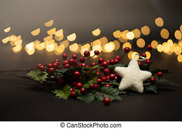 Holyy fruits with white star shot against magical golden lights bokeh in warm tone