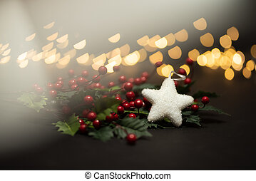 Holyy fruits with white star shot against magical golden lights bokeh in warm tone with prism light