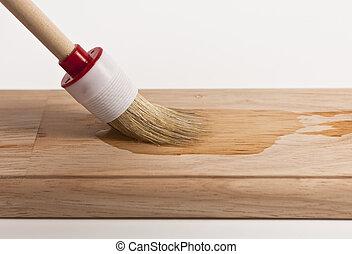 Holz anstreichen - Holz,Brett,Pinsel