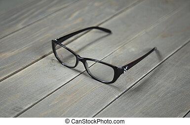 holz, brille, hintergrund