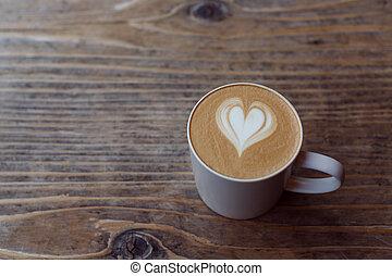 holz, cafe au lait, tisch, becher