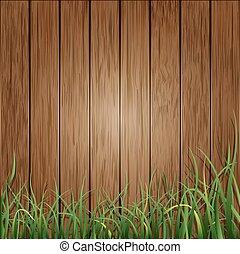 holz, grünes gras, hintergrund, planken