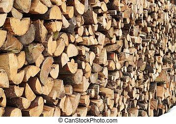 Meterscheiter - Holz in Meterscheiter gestapelt