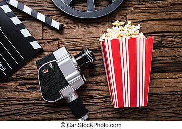 holz, schwengel, filmkamera, brett, popcorn