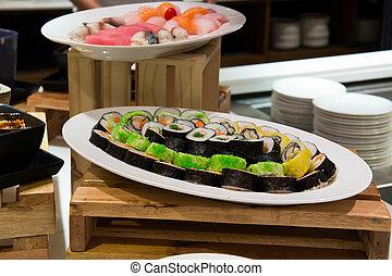 holz, sushi- rolle, maki