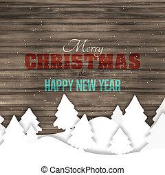 holz, winter, weihnachten, kreativ, graphischer entwurf