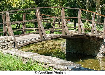 holzbrücke, aus, park, see