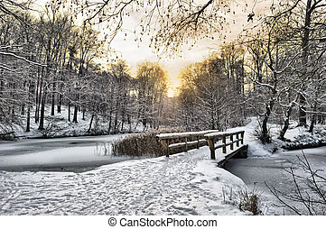 holzbrücke, unter, schnee