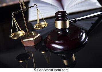 holzhammer, gesetzlich, code, und, statue, von, gerechtigkeit, gesetz, begriff