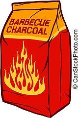 holzkohle, abbildung, (barbecue, tasche, vektor, papier, briquettes)