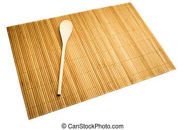 holzlöffel, auf, matte, von, bambus