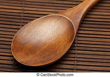 holzlöffel, matte, bambus