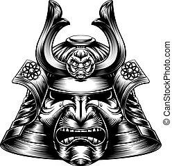 holzschnitt, samurai, maske, stil