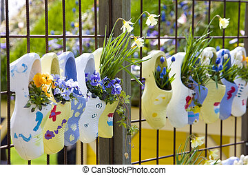 holzschuhe, gärten, niederlande, keukenhof, lisse