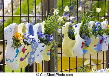 holzschuhe, keukenhof, gärten, lisse, niederlande