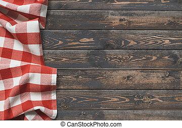 holztisch, draufsicht, mit, rotes , picknick, tuch