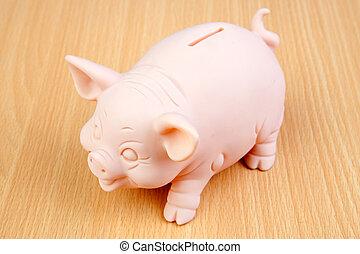 holztisch, piggy-bank