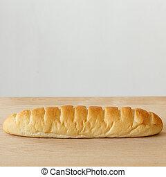 holztisch, weißer hintergrund, bread
