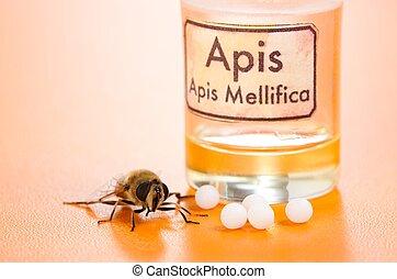 homéopathique, apis, pilules, abeille, mellifica, poison