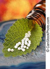 homöopathie, mit, kügelchen