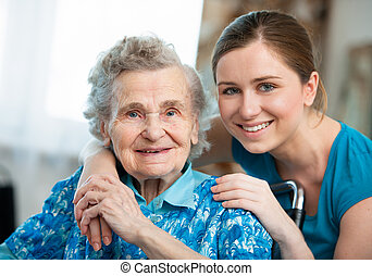 Homa care - Senior woman with her caregiver at home