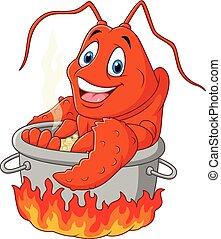 homard, être, cuit, dessin animé, rigolote