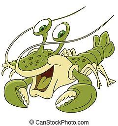 homard, dessin animé, mignon