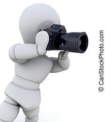 hombre, 3d, cámara, utilizar