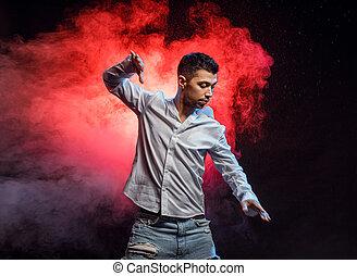 hombre, actuar, grande, bailarín, diestro, calle, baile