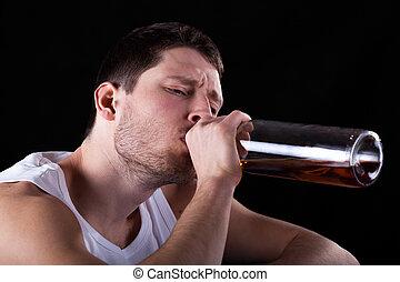 hombre, adicto, a, alcohol